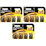 24 DURACELL PLUS AA (3 CARDS OF 4 + 4 FREE)