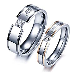 Yellow Chimes Rose Gold Metal & Crystal Couple Rings For Girls And Boys