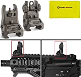 IMI Defense TFS OD Olive Drab Green Automatic Deploy Weaver Picatinny Front & Rear Set Flip Back Up Backup Auxiliary AR15 AR-15 M16 M4 M-4 Flattop Low Profile Polymer Iron Sight Mount with Adjustment Finger Knob + Ultimate Arms Care and Reel Silicone Lubricated Cleaning Cloth