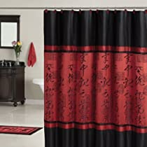 Red Black Asian Designed Bathroom Polyester Shower Curtain