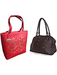 Arc HnH Women HandBag Combo - Elegant Dark Brown + Blossom Red