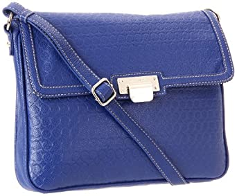 Nine West Embossed 9S Ipad Cross Body,Blue,One Size