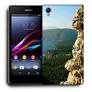 Snoogg Yellow Mountain Printed Protective Phone Back Case Cover For Sony Xperia Z2