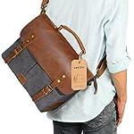 """Langforth Leather Vintage Canvas Laptop Bag, 13""""(L)x10.5""""(H) x 4.1""""(W), Grey"""