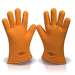 Heat Resistant Silicone BBQ Gloves- Best Oven Gloves-Perfect for Grill.Cooking, Boiling, Barbecue