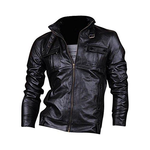 Jeansian Cappotti Di Pelle Uomo Inverno Moda Giacca Uomini Tendenza Cappotto Design Sottile Capispalla 8910 Black M