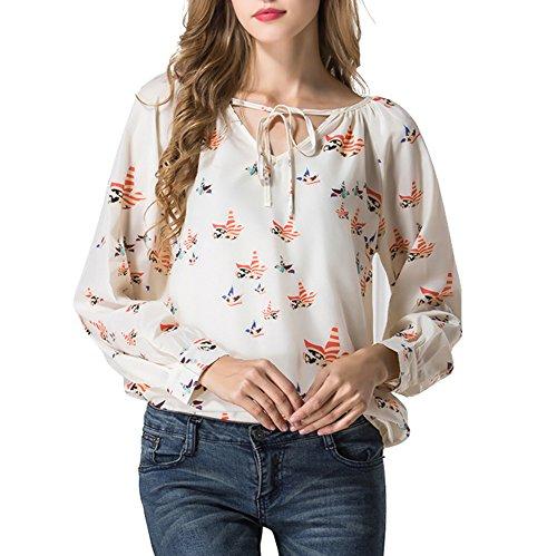Sannysis Estate delle donne casuale camicetta cavezza manica lunga chiffon T-shirt floreale (M)
