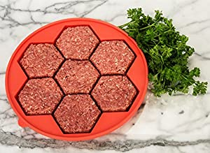 Burger Expert Silicone Burger Press (7-in-1 Design) - Stuffed Hamburger Patty Maker Makes Larger, Thicker, Juicier Meat and Kid-Friendly Sliders - Non-Stick Kitchen and Grill Accessories