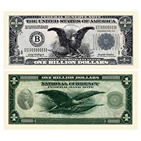 SET OF 5 BILLS-CLASSIC BILLION DOLLAR BILL