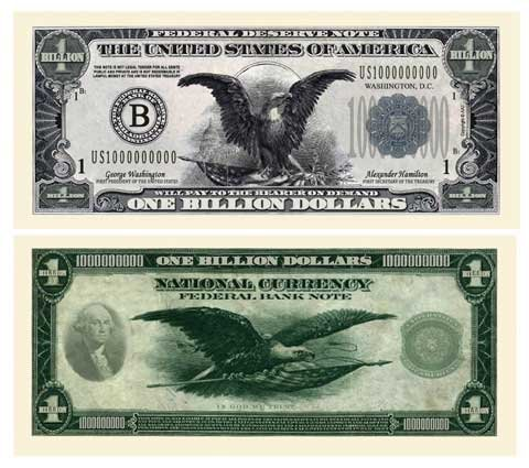 SET OF 10 BILLS-CLASSIC BILLION DOLLAR BILL-AAC