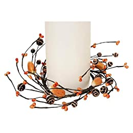 Halloween Berry and Candy Corn Pillar - Black/Orange : Target