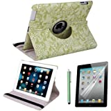 HDE 360 Rotating Stand Leather Case For Apple iPad 2 3 4 - Includes Capacitive Stylus and Screen Protector (Green Embossed Flower)