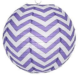 WeGlow International 14 Chevron Stripes Paper Lantern (Set 2), Purple