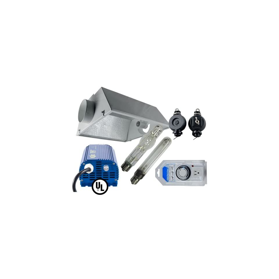 Grow Light Kit, 6 Air Cooled Reflector (21 x 23), 600w MH Bulb, 600w HPS Bulb, 600w Digital Ballast, Light Hangers, Analog Timer