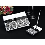 Lillian Rose 10-Inch Black Damask Guest Book with 5.25-Inch Pen Set