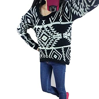 Vobaga Women's Aztec Knitted Pope Diamond Geometric Print Long Sleeve Jumper Sweater Pullover Knitwear Black