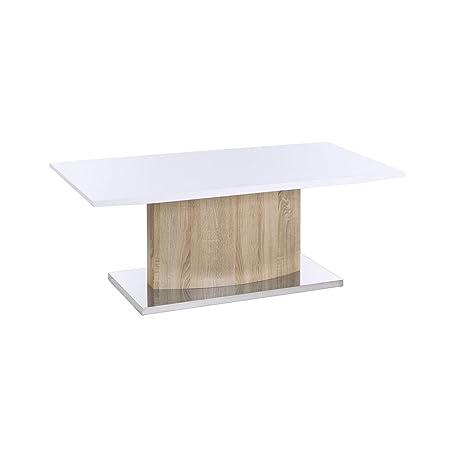 Mesa de centro minimalista blanca de madera para salón Fantasy