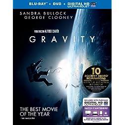 Gravity (Blu-ray + DVD + UltraViolet Combo Pack)
