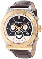 Salvatore Ferragamo Men's F78LCQ9595 SB25 Salvatore Ferragamo 1898 Steel Case Gold Ion-Plated Bezel Brown Dial Leather Chronograph Watch from Salvatore Ferragamo