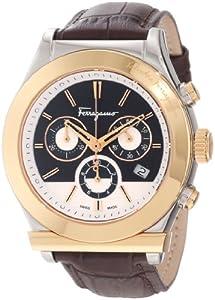Salvatore Ferragamo Men's F78LCQ9595 SB25 Salvatore Ferragamo 1898 Steel Case Gold Ion-Plated Bezel Brown Dial Leather Chronograph Watch from Salvatore Ferragamo