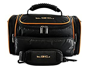 TGC ® Large Camera Case for Canon EOS 100D, 700D, Rebel SL1, Rebel T5i with Short Zoom Lens Plus Accessories (Black with Hot Orange Trims/Lining)