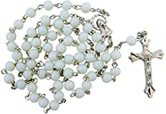 White Glass Beads Rosary, 6mm Beads, Great for Women or Girls. Perfect for First Communion, Rcia or Confirmation.