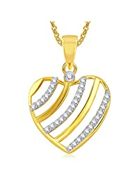 Meenaz Gold Plated Heart Pendant With Chain For Girls And Women PS392
