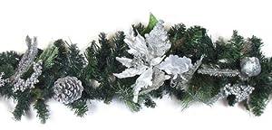 6' Pre-Decorated Silver Poinsettia, Pine Cone Artificial Christmas Garland Unlit