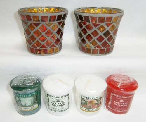 Christmas Gift Set: Set of 2 Glass Red & Gold Mosaic Votive or Tea Light Holders Plus 4 Assorted Yankee Candles