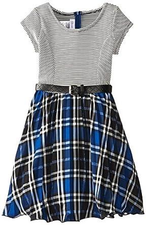 Bonnie Jean Big Girls' Cap Sleeve Knit To Woven Dress, Royal Blue, 7