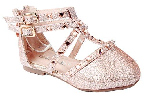 Baby Girls B-61KA Champagne Glitter Rhinestone Strap Infant Toddler Ballet Flat Dress Shoes-8