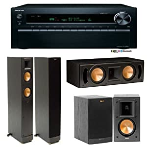 Onkyo TX-NR828 7.2 Channel Wireless Home Theater Receiver Plus A Klipsch Reference 5.0 Home Theater Speaker Package (RF-52II, RB-41II & RC-52II) from ONKYO
