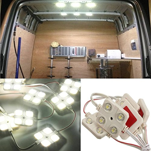 AUDEW 40 Led White Interior Lights Kit For LWB Van Trailer Lorries Sprinter Ducato Transit VW (White Trailer compare prices)