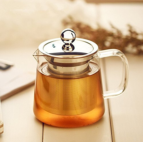 Dechunxian® Creative Life Series - Glass Tea Pot + Tea Infuser Strainer ,Lead-free Heat-resistant Borosilicate Glass, Dishwasher Microwave Refrigerator Safe (550ml+stainless Steel Cap) (Microwave Safe Tea Infuser compare prices)
