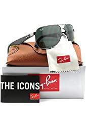 Ray-Ban RB3502 Sunglasses Matte Gunmetal w/Green (029) RB 3502 029 61mm Authentic