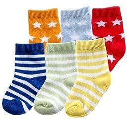 6pk Fun Stripe Combo Socks, Blue, 0-6 months