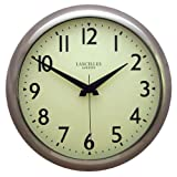 Roger Lascelles Retro Chrome Wall Clock, with Sweep Seconds Hand, 11.8-Inch