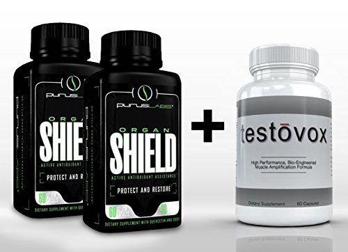 2X Purus Labs Organ Shield (60 Capsules Each) & Testovox (60 Capsules) - Professional Strength, Hybrid Post-Workout / Recovery Supplement Stack