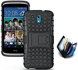 Tidel Hybrid Military Grade Armor Kick Stand Back Cover Case for HTC Desire 326G (Black) With Credit Card & Cash Holder