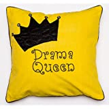 Bandbox Drama Queen Cushion Cover - Yellow (Size:- 16 In, X 16 In.)
