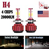 2Pcs H4 LED Headlight Bulbs Conversion Kit 9003/HB2 Car Headlamp 20000LM 6000K Cool White Double Beam DRL Fog Light Replacement - Plug and Play