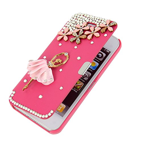 Per Apple iPhone 5s Custodia, Moonmini® Luxury 3D Crystal Diamond Strass (Rhinestone) Diamond Pretty Hot Pink Custodia in pelle Flip Cover Case Custodia Per Apple iPhone 5 5S 5G - Ballerina Flowers Hot Rosa