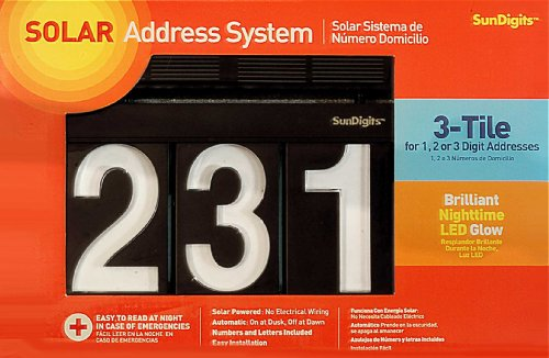 Sundigits 3 Digit Solar Led House Numbers (Led Numbers compare prices)