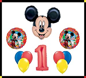 """Disney Mickey Mouse Clubhouse """"1"""" Happy Birthday Balloon Set Party Decoration"""