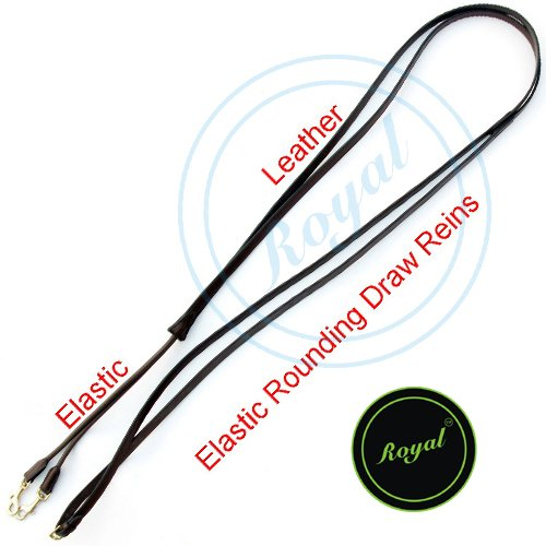 Royal Leather Draw Rein with Round Elastic./ Vegetable Tanned Leather./ Brass Buckles. (English Draw Reins compare prices)