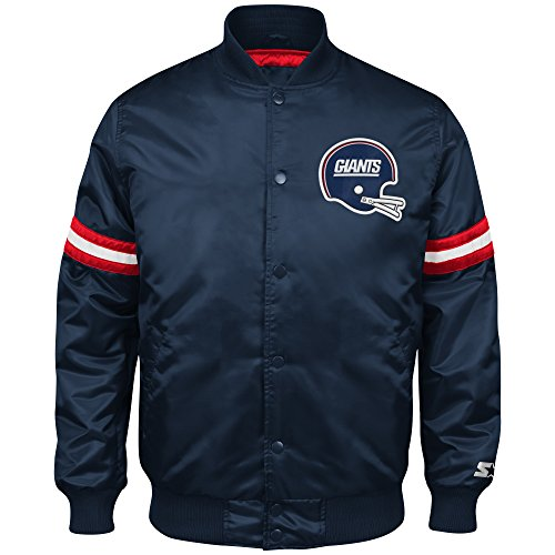 NFL New York Giants Men's Retro Satin Full Snap Jacket, Large, Navy (Satin Starter Jacket compare prices)