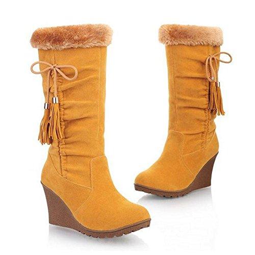 Pendio casual moda con una pendenza di antiscivolo resistente nel tubo di stivali da donna , beige , 35