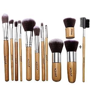 ACEVIVI Professional 12 Piece Makeup Brush Set, Premium Synthetic Kabuki Blending Blush Bamboo Handle with Bag