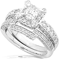 1-2/5ctw Princess and Round Diamond Wedding Rings Set in 14Kt White Gold