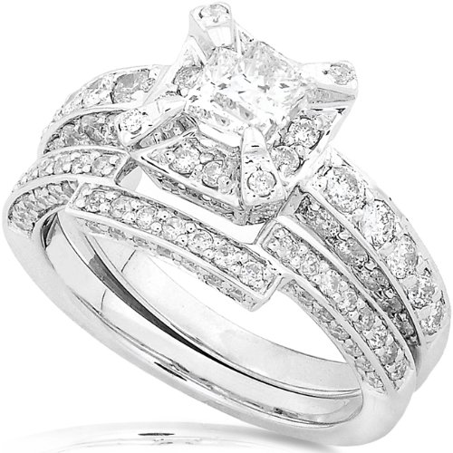 1-2/5ctw Princess & Round Diamond Wedding Rings Set in 14Kt White Gold - Size 5